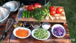 Ингредиенты Салат разноцветный из свежих овощей
