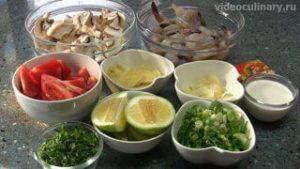 Ингредиенты Тайский суп Том Ям с креветками