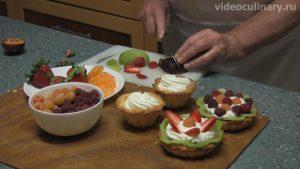 Пирожное корзинка с фруктами