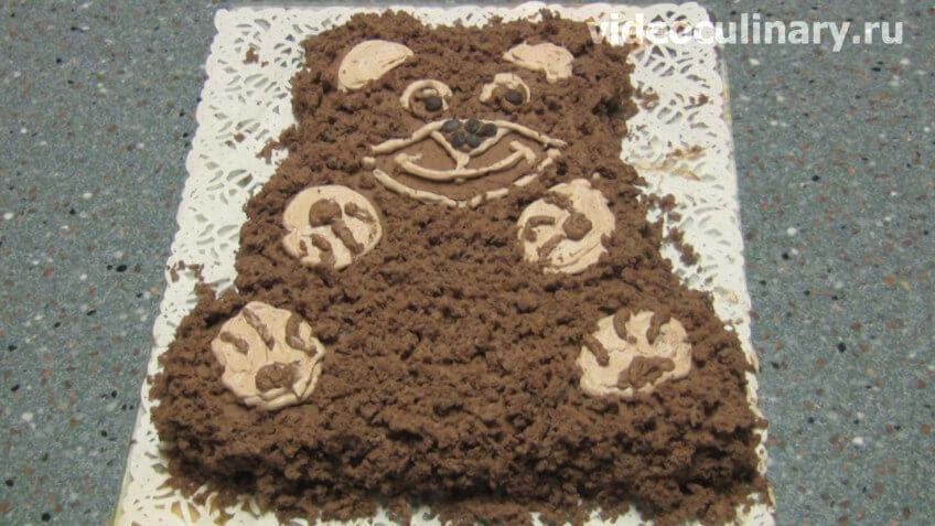 Бисквитный шоколадный торт Мишка