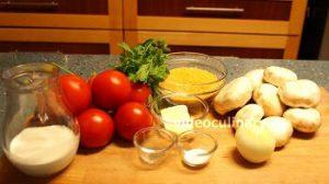 Ингредиенты Помидоры, фаршированные грибами запеченные в духовке