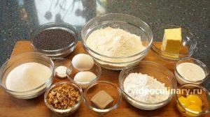 Ингредиенты Рулет из сладкого песочного дрожжевого теста с маком