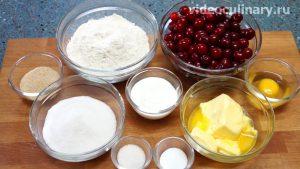 Ингредиенты Пирог с вишней из песочного теста со сметаной