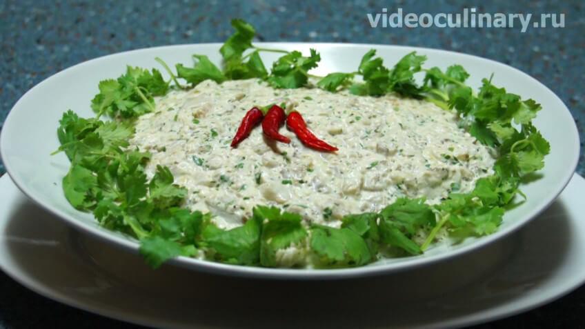 Салат из запечённых баклажанов с майонезом