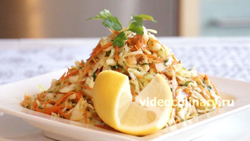 Салат из капусты с чесноком
