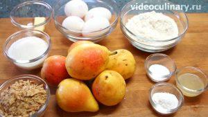 Ингредиенты Бисквитный пирог с грушами