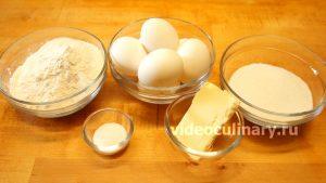 Ингредиенты Мягкий воздушный бисквит