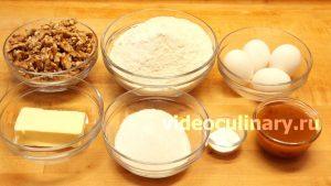 Ингредиенты Медовый пирог с орехами