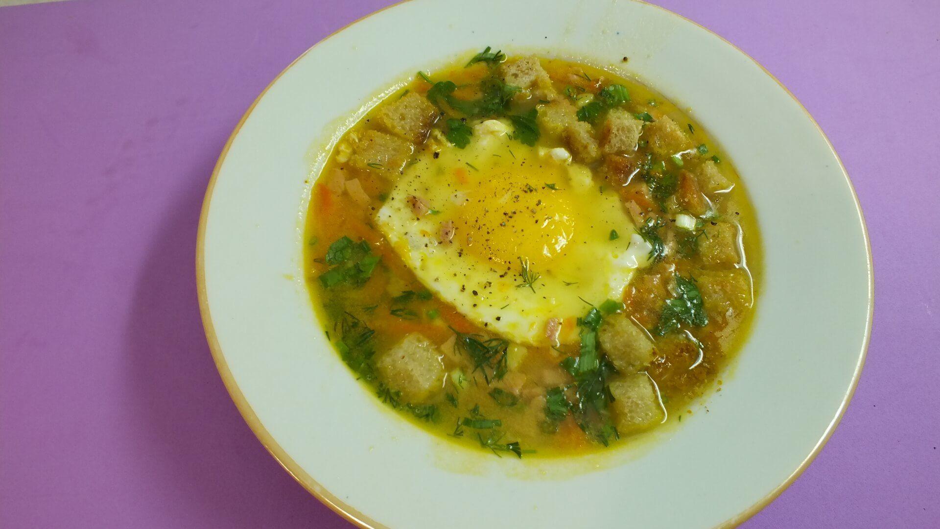 Суп пюре с ветчиной и яйцом