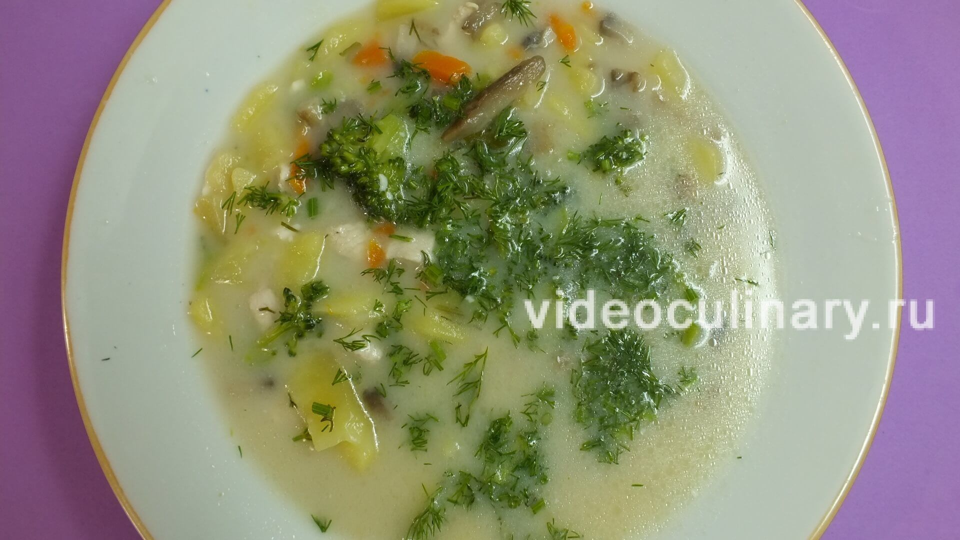 Суп овощной с курицей и брокколи