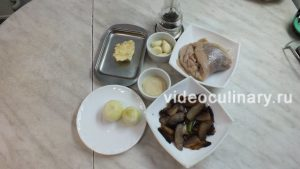Ингредиенты Рулет рыбный с грибами
