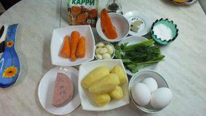 Ингредиенты Суп пюре с ветчиной и яйцом