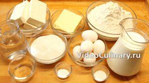 Ингредиенты Простой торт Наполеон с заварным кремом