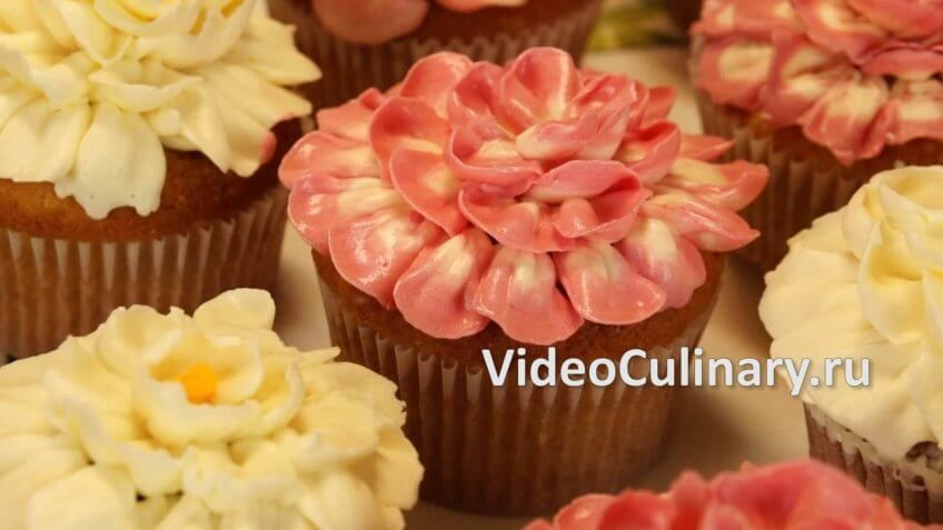 Украшение Капкейков цветами из крема
