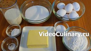 Ингредиенты Простой бисквитный торт с заварным кремом